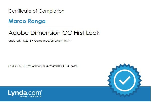 Lynda.com Certification image for Marco Ronga from Your Media Services of Adobe Dimension CC First Look