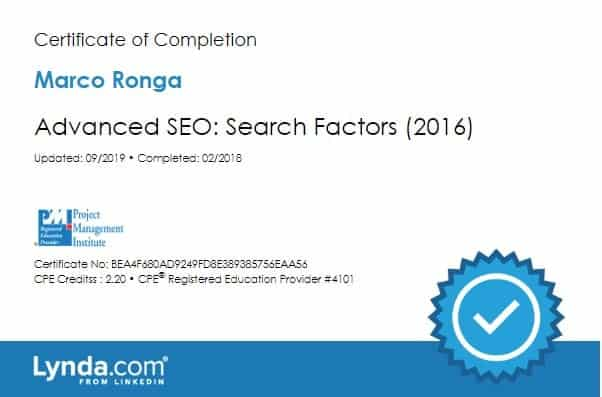 Lynda.com Certification image for Marco Ronga from Your Media Services of Advanced SEO - Search Factors 2016