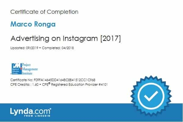 Lynda.com Certification image for Marco Ronga from Your Media Services of Advertising on Instagram 2017
