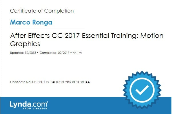 Lynda.com Certification image for Marco Ronga from Your Media Services of After Effects CC 2017 Essential Training Motion Graphics