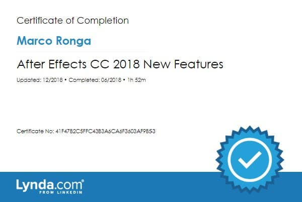 Lynda.com Certification image for Marco Ronga from Your Media Services of After Effects CC 2018 New Features