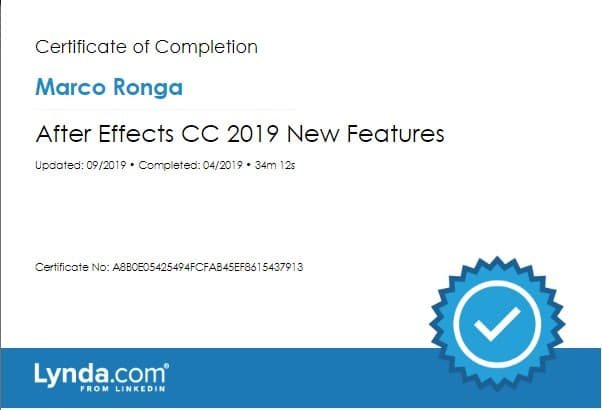 Lynda.com Certification image for Marco Ronga from Your Media Services of After Effects CC 2019 New Features