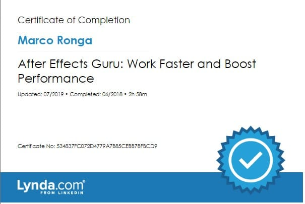 Lynda.com Certification image for Marco Ronga from Your Media Services of After Effects Guru - Work Faster Boost Performance