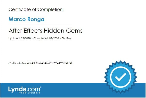 Lynda.com Certification image for Marco Ronga from Your Media Services of After Effects Hidden Gems