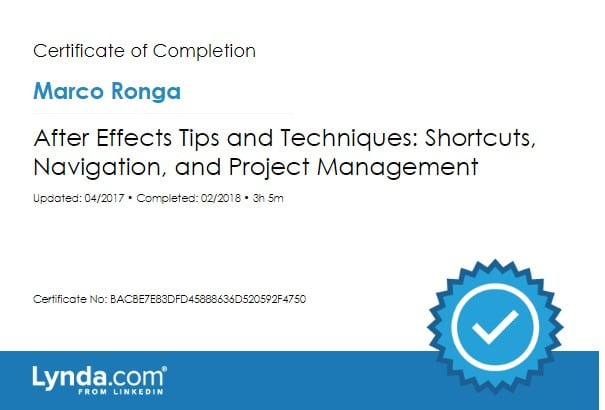 Lynda.com Certification image for Marco Ronga from Your Media Services of After Effects Tips and Techniques - Shortcuts, Navigation, and Project Management