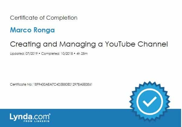 Lynda.com Certification image for Marco Ronga from Your Media Services of Creating and Managing a YouTube Channel