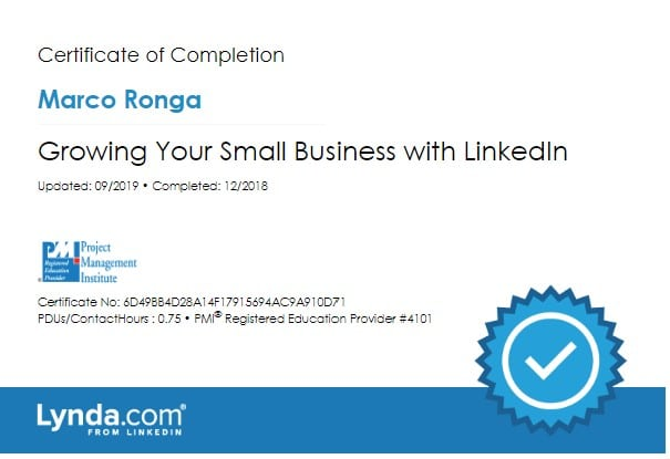 Lynda.com Certification image for Marco Ronga from Your Media Services of Growing Your Small Business with LinkedIn