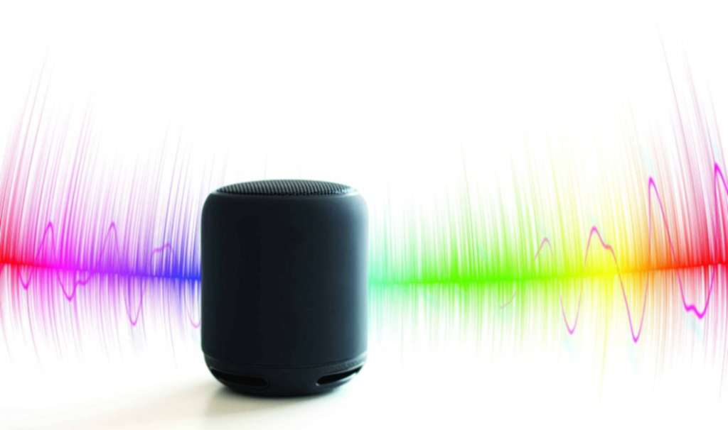 Home intelligent voice activated assistant recognition technology concept living room interior background smart ai speaker horizontal flat-1
