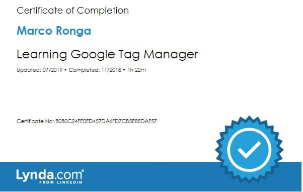Lynda.com Certification image for Marco Ronga from Your Media Services of Learning Google Tag Manager
