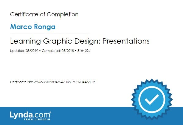 Lynda.com Certification image for Marco Ronga from Your Media Services of Learning Graphic Design Presentations