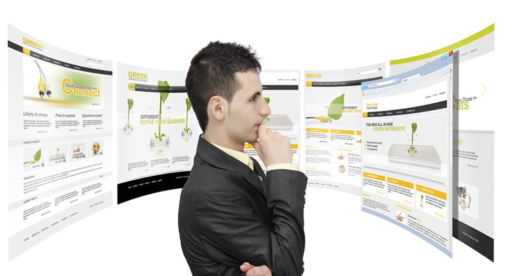 A man looking at all his online advertising choices used as an online advertising image selection within our Mega Menu