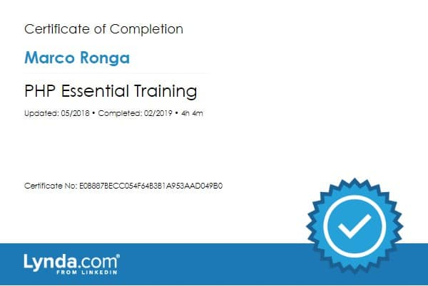 Lynda.com Certification image for Marco Ronga from Your Media Services of PHP Essential Training