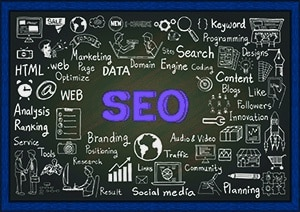Search Engine Optimize Chalkboard with Penciled Images to illustrate SEO word map