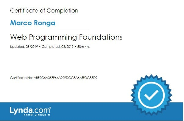 Lynda.com Certification image for Marco Ronga from Your Media Services of Web Programming Foundations
