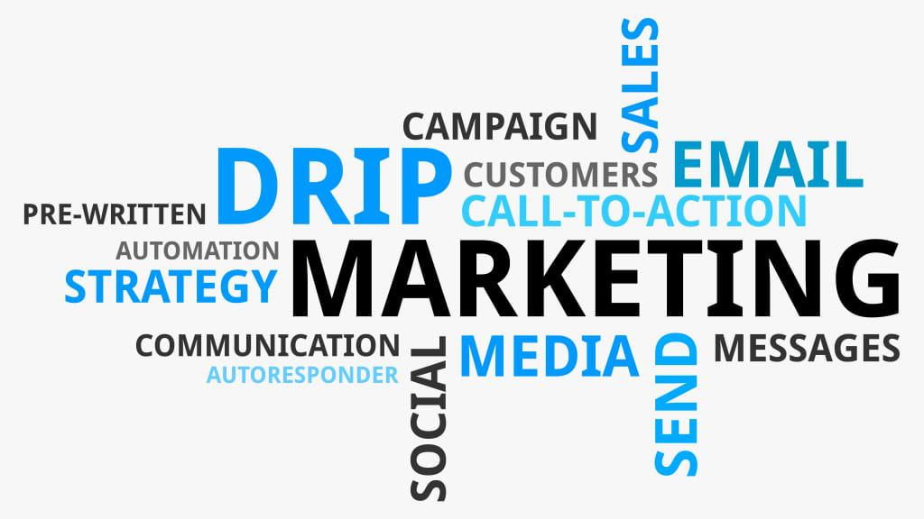 email marketing Drip Campaign word puzzle illustration