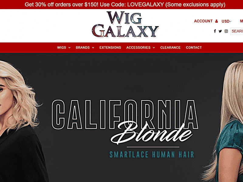 Wig Gall Client created website project displaying Models on Front Page