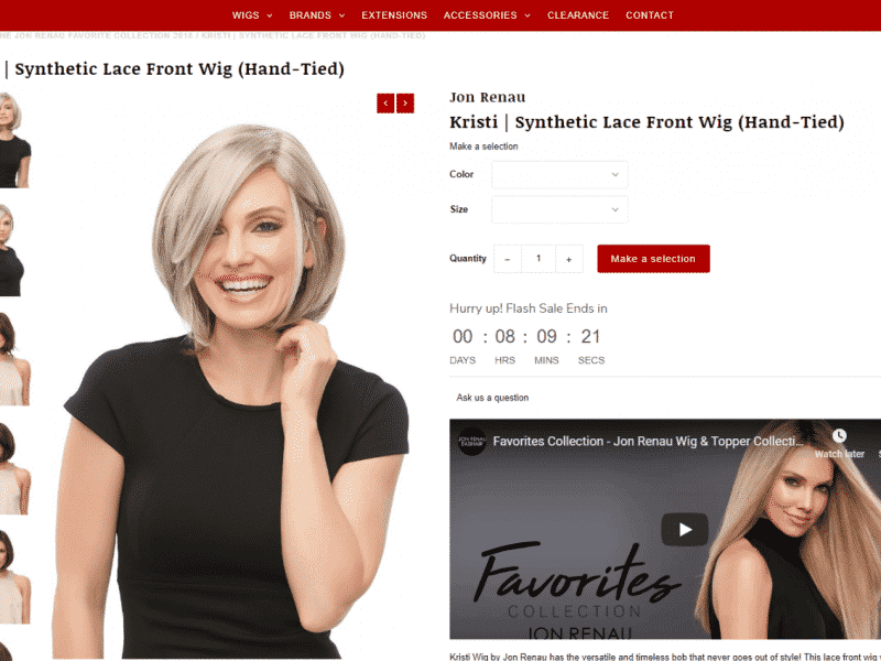 Wig Gal Client created website project displaying a model page