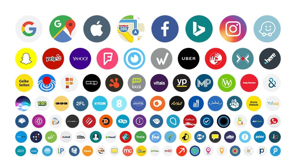Logos for all the publishers listings your media services helps manage with online presence manager